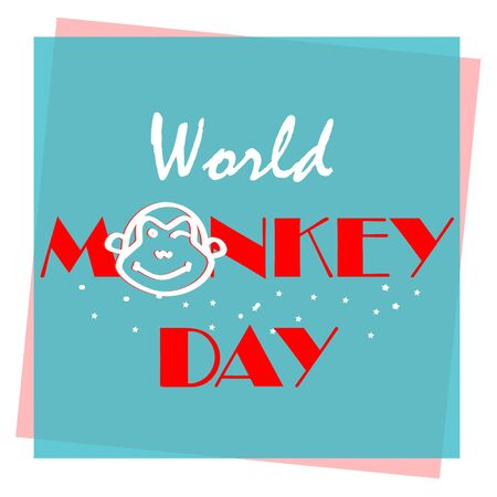 Happy World Monkey day web banner illustration. Wild animal with African safari decoration for animal care and conservation. Typography for World Monkey Day on 14 December with monkey head on