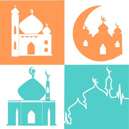mosque vector icons. Simple illustration set of 4 mosque elements, editable icons, can be used in logo, UI and web design. Green and Orange Mosque and Background. Ramadan Kareem mosque Illustration Çizim