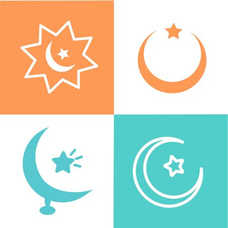 Ramadan icons set with Islamic, moon and star dome. Isolated vector illustration Ramadan icons. Arabian icon. Arabian vector icons set Islamic star mosque, happy Ramadan and Islam symbol.  イラスト・ベクター素材