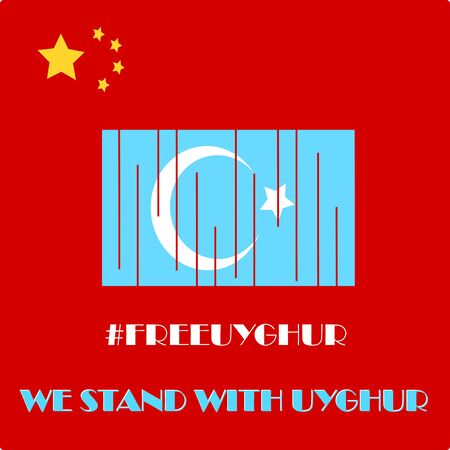 Save Uyghur vector Illustration. Uyghur people and the world. Uyghur people been discriminate by their government. Freedom from discrimination. We stand with Uyghur poster design. symbol of humanity Illustration