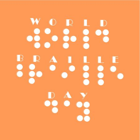 Poster for annual celebration of World Braille Day (January 4) with text World Braille Day made by braille alphabet. world braille day vector illustration eps 10. Sign, message written