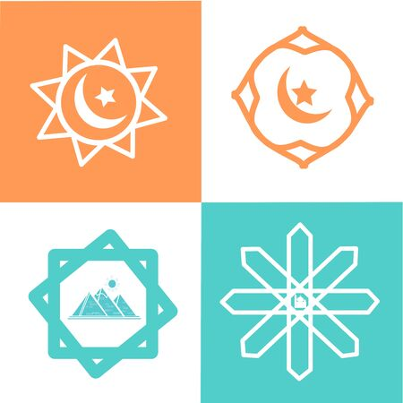 Geometric logo template set. Vector circular Arabic ornamental symbols with moon, star, pyramid, and mosque on the white, green, and orange background. Elegant Ornament  Pattern Vector