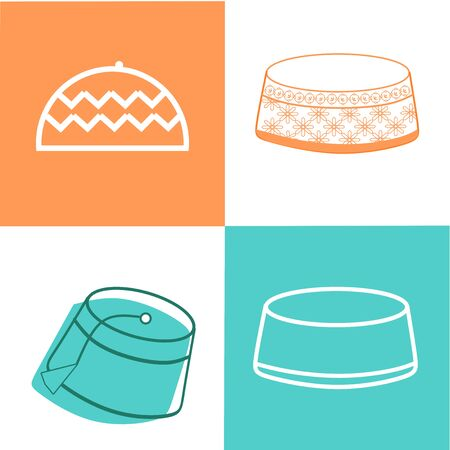 Islamic Cap Icon. Islamic and Ramadan Icon Set Vector  Symbol. Eid Mubarak concept with Islamic head wear embroidered skull-cap on green, white and orange background. Muslim community festival Eid-Al-Fitr. Çizim