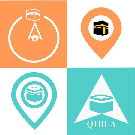 Qibla - muslim prayer direction. Kaaba direction. Mecca. Saudi Arabia. Qibla - Islamic -Arab- term used for the direction for offering a prayer, which is Kaaba in Mecca. Vector illustration. Illustration