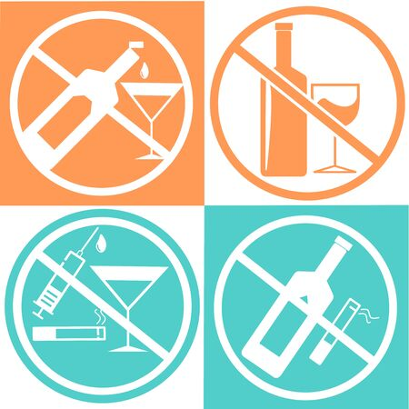 No alcohol drink and no smoking icon isolated on white, orange and green background, warning label vector eps 10. Trendy outline vector of Ramadan icons for ui and ux, website or mobile application. Illusztráció