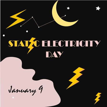 National Static Electricity Day Unofficial Holidays Collection. Static Electricity Day vector for your design and print template. Post Card Celebrate Static Electricity Day Every January 9.