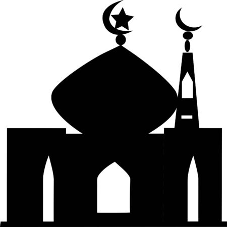 Black mosque vector icons on the white background. Simple illustration mosque elements, editable icons, can be used in logo, UI and web design. Ramadan Kareem mosque Illustration Imagens