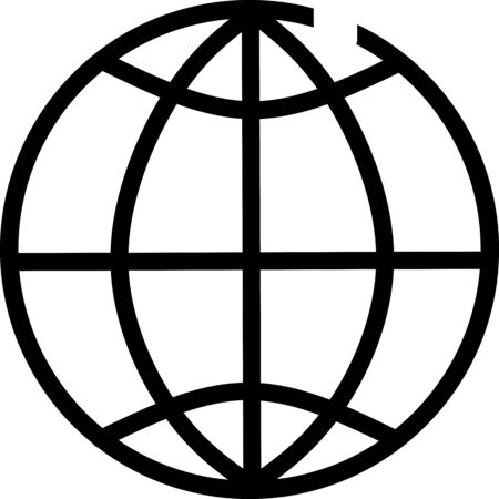 Simple globe outline icon. Elements for mobile concept and web apps. Thin line vector icons for website design and development, app development. Globe and earth planet black icon set. Spherical round