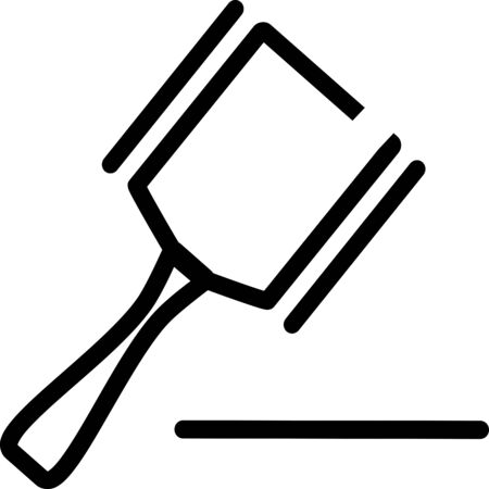 judges gavel or auction. Vector icon of a judges gavel, hammer, hitting the surface. It represents constitutional rights, court, justice and work of judges, lawyers and prosecutors. Judges hammer Stock Illustratie