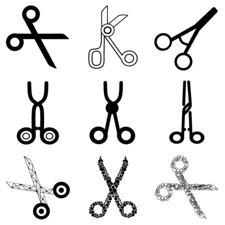 Set of various professional Scissors. Surgical Instrument, Medical clamp, hairstyle scissors icon. Medical equipment. Collection of different scissors models.