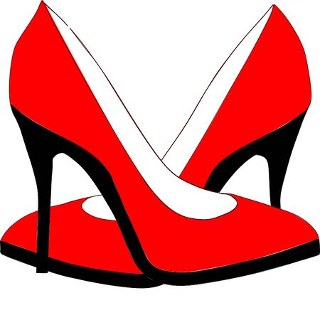 High heels icon isolated on white background. Vector art. Bright red shoes, vector illustration