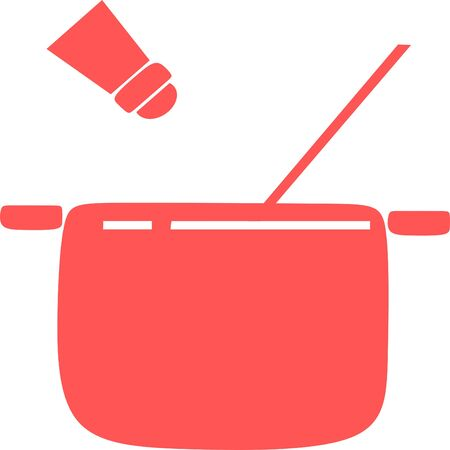 Cooking pan with pepper icon. Pot icon. kitchen icon vector. pot hot icon vector concept eps10. Flat design