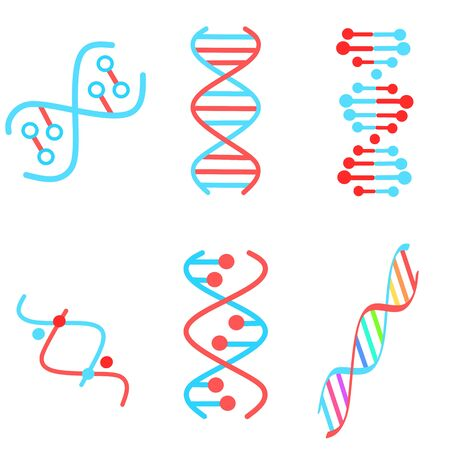 DNA spirals violet and turquoise color icons set. Deoxyribonucleic, nucleic acid helix. Spiraling strands. Chromosome. Molecular biology. Genetic code. Genome. Genetics. Isolated vector illustrations