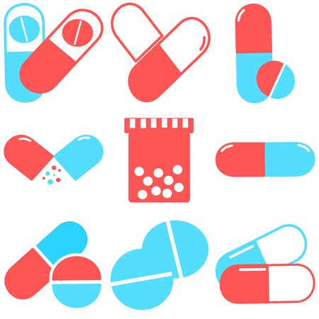 Medical pills icons set. Medicine, pharmacy, hospital set of drugs. Medication, pharmaceutics concept. Vector illustration. Drugs flat icons: pills, capsules. healthcare medicine icon