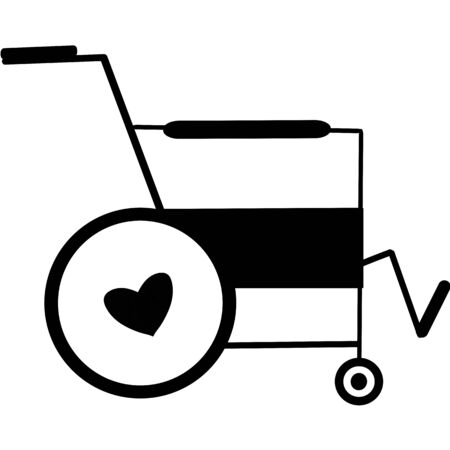 Wheelchair flat icon. Vector wheelchair icon. Attractive and Beautifully or Faithfully Designed Wheelchair Icon. Wheelchair, handicapped or accessibility parking or access sign flat for apps and print  イラスト・ベクター素材