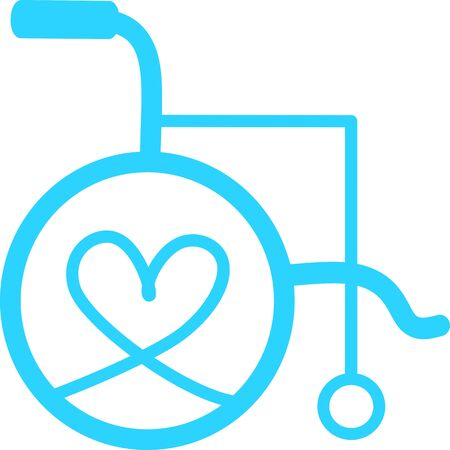 Wheelchair flat icon. Vector wheelchair icon. Attractive and Beautifully or Faithfully Designed Wheelchair Icon. Wheelchair, handicapped or accessibility parking or access sign flat for apps and print Illustration
