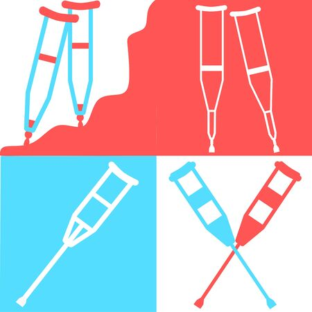 Set of crutches. Axillary crutch line black icon. Medical tool for people with disabilities and help after injury. Sign for web page, mobile app, button, logo. Vector isolated button. Editable stroke. Illustration