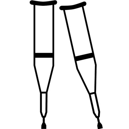 Crutches. Axillary crutch line black icon. Medical tool for people with disabilities and help after injury. Sign for web page, mobile app, button, logo. Vector isolated button. Editable stroke.