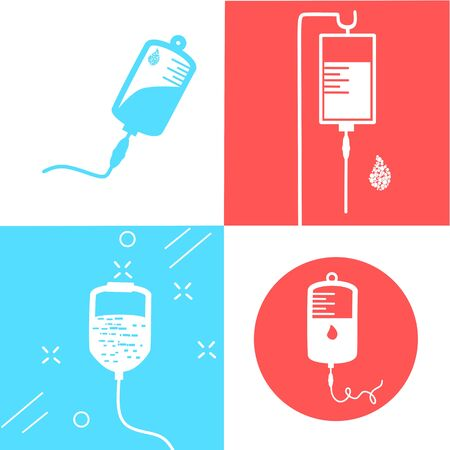Infusion icon. Intravenous bag, blood, drip. Medical help concept. Vector illustration can be used for topics like hospital, therapy, chemotherapy. Iv, infuse, blood bag. Tube and blood collection. Vector Illustration