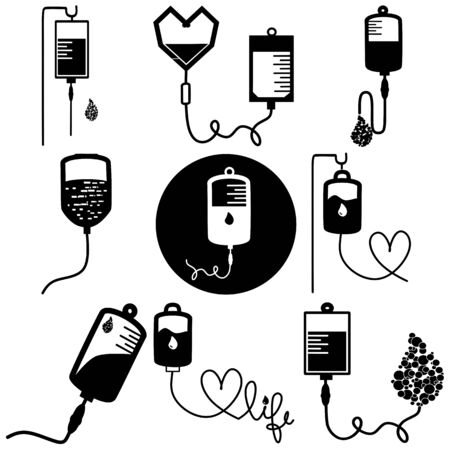 Infusion icon. Intravenous bag, blood, drip. Medical help concept. Vector illustration can be used for topics like hospital, therapy, chemotherapy. Iv, infuse, blood bag. Tube and blood collection.