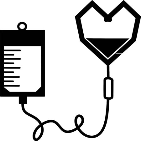 Infusion icon. Intravenous bag, blood, drip. Medical help concept. Vector illustration can be used for topics like hospital, therapy, chemotherapy. Iv, infuse, blood bag. Tube and blood collection. Ilustração