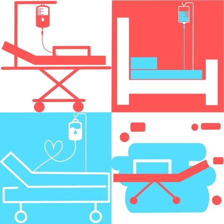 Hospital bed. Intensive care unit icon. Resuscitation, rehabilitation, hospital ward. Medicine concept. Vector illustration can be used for topics like healthcare, hospital, medical care, Chemotherapy