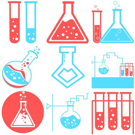 Set of Chemical test tube pictogram icon. Laboratory glassware or beaker equipment. Experiment flasks. Trendy modern vector. Simple flat illustration. Glass chemical, laboratory flasks for science lab Illusztráció