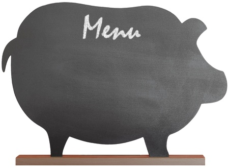 Vintage Black Chalkboard Message Board For Kitchen or Resturant Menu Or Notes, Isolated With Clipping Path On White Background photo