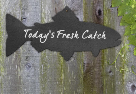 Black Chalkboard Fish  Restaurant Menu Advertising Space For Fresh Seafood Over Distressed Grunge, Vintage, Aged And Green Moss Covered Wood Background Framed With Grape Leaves And Tendrils