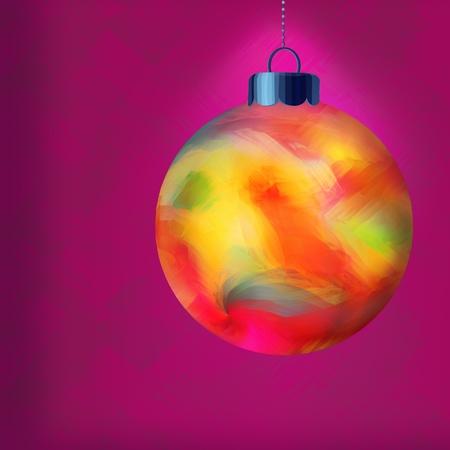 Single Multi Colored Christmas Ornament Illuminated Over Purple Textured Wallpaper photo