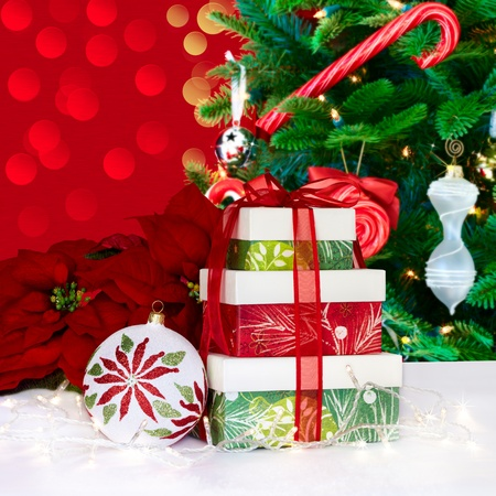 White, Green and Red  Christmas Ornament with Poinsettia Stock Photo - 11550385