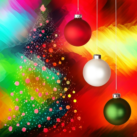 Christmas Tree With Stars and Red, White And Green Ornaments Over Glowing Colorful Multicolor Tie Die Background  photo