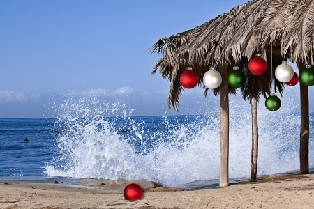 Beach Palapa Decorated For Christmas Season ~ Red, White and Green Ormaments ~ Splashing Waves