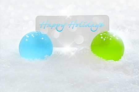 Holiday Christmas Table Placeholder Card Sitting In Winter Snow With LED Light Background Stock Photo - 11550433