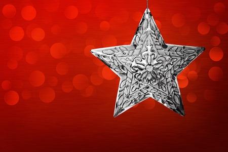 Silver Star Christmas Ornament Su Sfondo metallo spazzolato con LED Luci Bokeh