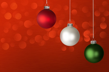 White, Red and Green Christmas Ornaments ~ Lights Glowing  Over Red Background  photo