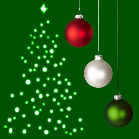 christmas backdrop: White, Red and Green Christmas Ornaments On Green Christmas Tree Background