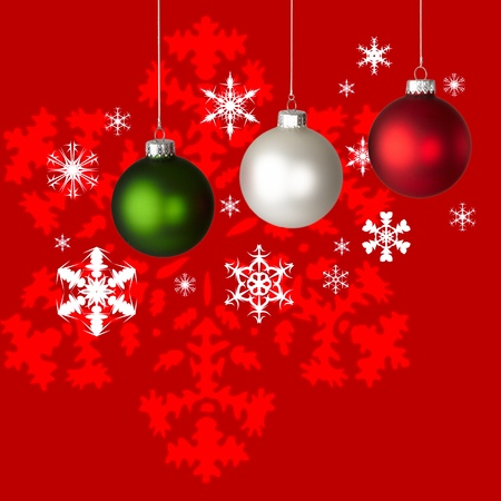 White, Red and Green Christmas Ornaments On Red & White Snowflake Background  photo