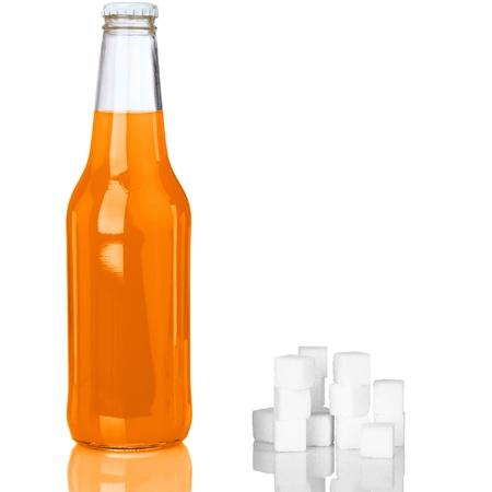 soda pop: Refreshing Orange Soda Pop With Sugar Cubes Stock Photo