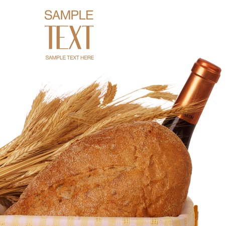 Wheat, Bread And Wine In Yellow Picnic Basket photo