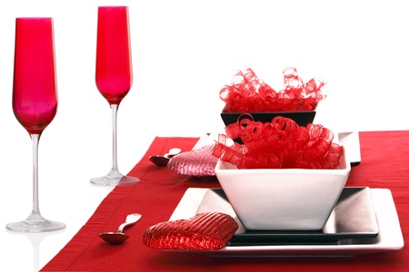 Isolated; Romantic Modern Black & White Table Setting ~ Red Champagne Flutes with Red Table Linen