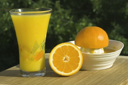 Glass Of Fresh Squeezed Organic Orange Juice - Juicer And Oranges With Natural Outdoor Background