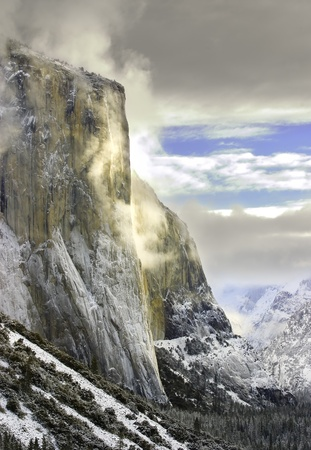 View Of Morning Light Striking El Capitan, In California's Yosemite National Park After A Fresh Winter Snow Storm photo