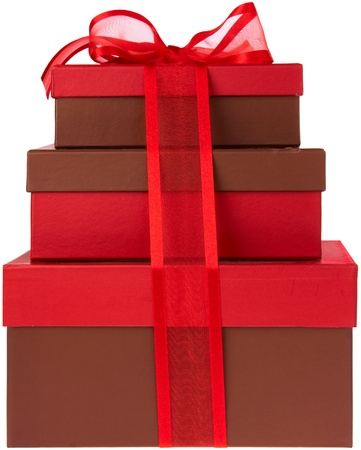 fancy box: Three Red and Brown Presents with Red Ribbon and Bow Stock Photo
