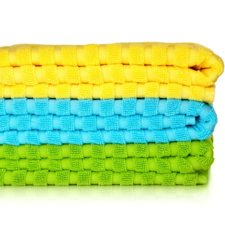 Blue, Yellow and Green Beach Towels Isolated On White Background
