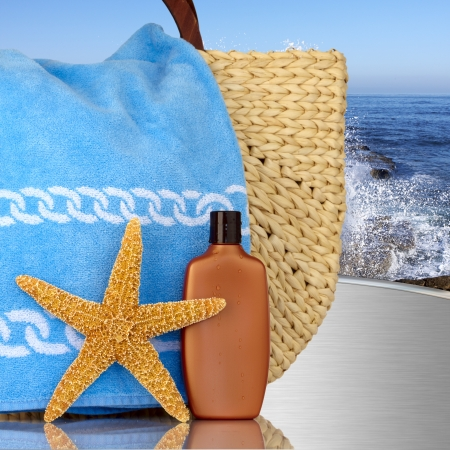 aquatic products: Day Spa Still-life Beach Bag Wtith Starfish And Sunscreen On MetalTable With Ocian Waves In Background
