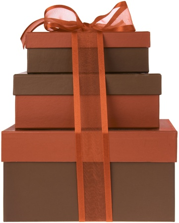 Three Red and Brown Presents with Red Ribbon and Bow Stock Photo - 11550376