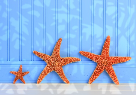 Three Starfish On Blue Panel Background Stock Photo