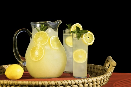 Pitcher And Glasses Of Cold Fresh Squeezed Lemonade On Rattan Tray ~ Isolated On Black