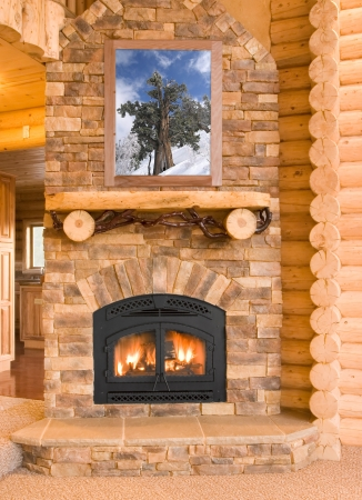 stone fireplace: Log Cabin Home Interior with Warm Fireplace with wood, flames, ash, embers and charcoal